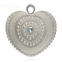 Hjärtformade Kvinnor Kvinnor Badar Beaded Small Purse Day Clutches Evening Väskor Finger Ring Rhinestones Bröllop handväska