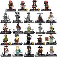 8pcs pirata del Caribe Negro Perla Mini Toy figura Capitán Jack Sparrow William Davy Jones Elizabeth Barbosa Salazar Bloque de construcción