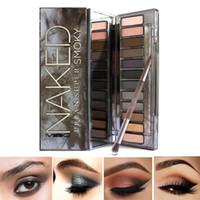 Heißer Verkauf Smoky 12 Farben Lidschatten-Palette Kompakte geräucherte Make-up Pearl Light Lidschadow Make-up-Palette