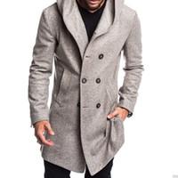 2019 caliente nuevo invierno de los de lana estilo británico informal Abrigo doble de pecho bolsillos largos de la capa con capucha
