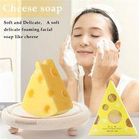 New Facial Cleanser Käse Seife handgemachte Käse Reinigungsseife Moisturizing Öl-Kontrolle Anti-Akne Anti-Milben Gesichtsreinigung Seife