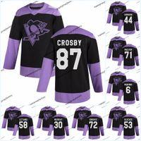 87 Sidney Crosby Pittsburgh Penguins luta contra a prática de câncer Jersey Kris Letang Sidney Jake Guentzel Evgeni Malkin Patric HornQvist Blueber