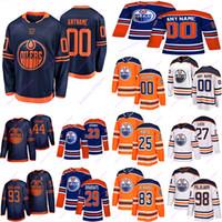 Edmonton Oilers Jerseys 97 Connor McDavid 74 Ethan Bear 29 Leon Draiseaitl 99 Wayne Gretzky تخصيص أي رقم أي اسم هوكي جيرسي