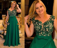 Green Plus Size Mother Of The Bride Evening Dresses V Neck F...