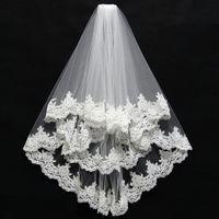 Corto 2 capas de alta calidad al por mayor velos de novia de encaje Edge accesorios de boda velo de novia velos de novia
