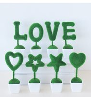 Amor pote de plástico coração Planta de vaso Artificial Plantas coelhinho da Páscoa Coelho Presentes Pot quarto Valentine Decoração para escritório decoração de mesa