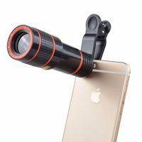 Clip-on 12x zoom óptico telescópio telescópio lente hd telescópio lente para celular universal