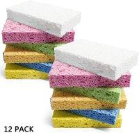Rengöring skrubba Svamp Assorted Colors - Ej-scratch, Tung färg Cellulose Svamp, Rengör tuffa Messes utan att skrapa 12Pack