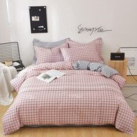 Pink Plaid 100% Pure Cotton Comforter Bedding Sets 60S Simpl...