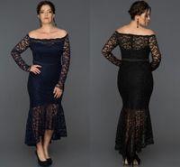 2019 신부 드레스의 높은 낮은 인어 공주 레이스 어깨 플러스 사이즈 긴 소매 웨딩 게스트 드레스 차 길이의 저녁 가운