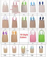 2019 Conejito de Pascua Bolsa Orejas Bolsas Material de algodón Arpillera de Pascua Regalos de Navidad Bolsa de algodón Cesta de lino Bolsa de embalaje Bolso