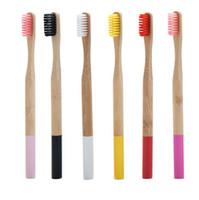 Круглый Bamboo зубная щетка 17 цветов Взрослые Красочный натурального бамбука ручки Мягкая щетина зубных щеток 50шт OOA7612-1