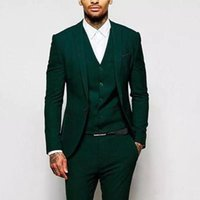 Yeni Slim Fit Yeşil Erkekler Suits Düğün Smokin Sağdıç Giyim 3 Parça (Ceket + Pantolon + Yelek) İyi Adam Balo Akşam Giymek 483