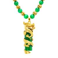 Colgantes de la joyería 24K de la joyería de oro collar de jade malayo Nacional del viento Jade Dragon y Phoenix clavícula hombre colgante de jade