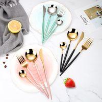 4pcs / set Set en acier inoxydable Couverts d'or noir Vaisselle Argenterie Couverts dîner couteau fourchette cuillère
