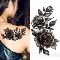 Schwarz große blume beautifulred rose blume body art wasserdicht gefälschte sexy für frau flash temporarytattoo aufkleber 10 * 20 cm kd1140 sh190724