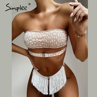 Traje de baño de las mujeres Simpley Sexy Leopard Print Bikini Set Push Up Bandeau Tassel Summer Beach Wear Cinturón de vacaciones Dos Piezas Swimsuits 2021
