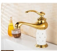Basin Faucets Luxury Euro Gold with Diamond Brass Made Bathr...