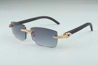 2020 hot venda de moda high-end preto varas de madeira natural diamantes óculos de sol A-3524012-b para unisex, tamanho: 56-18-135mm