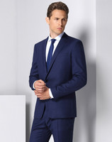 Classic Men' s Suit Navy Lapel Single- Breasted Men'...