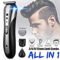 Kemei Tüm Erkekler Suya Kablosuz Elektrik Sakal Tıraş Burun Tıraş Saç Kesme Aracı için Şarj Edilebilir Saç Clipper in1