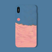 New desert red sun iphone8PLUS case 7P art illustration 6S a...