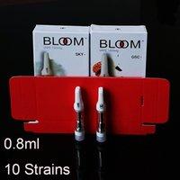 Bloom Vape Cartucho Embalagem 0.8ml Atomizador Cerâmico Vazio Dan Caneta Vaporizador Vaporizador Espesso Carrinhos de Óleo 510 Thread E Cigarros
