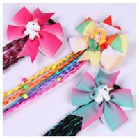 Новое прибытие девушки Unicorn парики Галстуки волос Дети Радуга Bow Hairband для выдвижения волос Красочного парика Единорог Русалки Аксессуары для волос 12шт