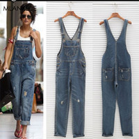 Solid Loose Overalls Jeans Women Casual Pockets Button Hole ...