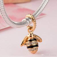2018 Spring 925 Sterling Silver Jewelry Gold-Plated Queen Bee Pendant Charms Original Beads Fits women Jewelry Making Pandora Bracelets