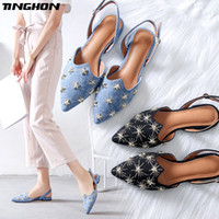 TINGHON Luxury Star Rivets Flats Shoes for Women Pointed Toe...