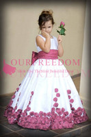 2019 Vintage Jewel Neck Flor Meninas Vestidos Red 3D Flores Apliques de Cintura Primeiro Commuion Vestidos Meninas Pageant Vestido Para As Meninas de Aniversário