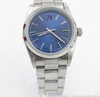 Prix usine 36MM Non Date cadran bleu automatique mécanique Hardlex Drystal Mens Montres-bracelets Bracelet en acier inoxydable Watch Montres pour homme