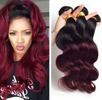 Şarap Kırmızısı Ombre Virgin Brezilyalı Vücut Dalga İnsan Saç Paketler 3PCS 1B 99J Burgonya Ombre saç örgüleri fiyatlarına
