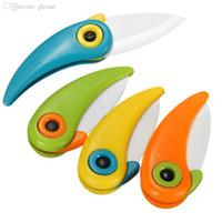 Atacado-2016 Cozinhar Ferramentas Mini Pássaro cerâmica Pocket Knife presente faca de cerâmica Folding facas de bolso cozinha Frutas faca Paring