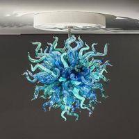 Vente en gros Murano bleu et verre vert Lustre abat-jour avec des lumières LED main artistique Blown Lumières Pendentif en verre de Venise