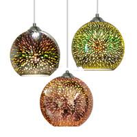 Hot Modern Fireworks CHIM 3D Glaskugel PE Moderne Pendelleuchten Glaskugel Pendelleuchte Kreative Esszimmer Küche Bar Hängelampe 3 Farben