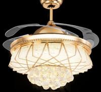 Современный сплав Кристалл светодиодный потолочный вентилятор Свет Незримый Свет электрический вентилятор Люстра Выдвижной ремень Складывание подвесной светильник для MYY Спальня