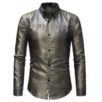 473095 RUIKE Chemise Homme Casual Slim Fit Shiny Gold Dress ...