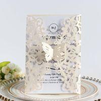 Invitaciones de boda Plantilla Ivory mariposa Corte láser Pliegue el bautizo de la invitación Hollow Blank Quince Tarjetas Envío gratis