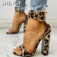 2020 SHENGY Summer Women Shoes Snakeskin Ankle Buckled Sandals Chunky Heeled Sandals Open Toe Leopard Party Shoes