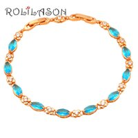 ROLILASON seawater Blue Crystal Golden charm bracelet for wo...