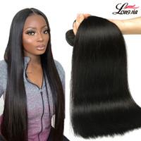 Brésilien droit vierge cheveux 3/4 paquets non transformés brésilien vierge hétérofeuille cheveux humains tissée péruvien malaisien soyeux cheveux raides