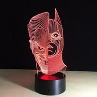 Yeduo Led luces de la noche 3D-Cara Dos acrílico decoloración colorido Ambiente novedad de la lámpara de iluminación creativa 3D Ilusión de la lámpara