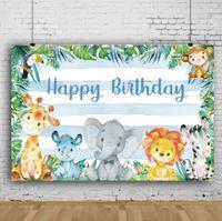 Traum 7x5ft Großwild alles Gute zum Geburtstag Fotografie-Hintergrund Grünen Dschungel-Pflanzen-Dekor-Baby-Duschen-Foto-Hintergrund für Kinder-Party
