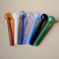 En los tubos de vidrio Pyrex quemador de aceite Tubo Mini cuchara mano de colores Pequeño Quemador de aceite Pyrex de cristal tubo recto de color pipas de fumar