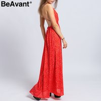 BeAvant Backless laceup sexy women dress casual V neck red d...