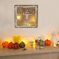2020 HEISSER Verkaufs-Geisterhaus Halloween-Mond-Kürbis hölzerne Verzierungen LED Candle Light Festival DIY steuern Dekoration