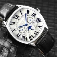 Высокое качество моды мужские часы Все циферблаты работа Кожаный ремешок 42мм циферблат Moon Phase наручные часы для мужчин Валентина Подарок дропшиппинг