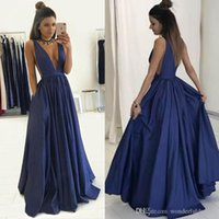 Simple Style 2017 Navy Blue Evening Gown Sexy Deep V- Neck A ...